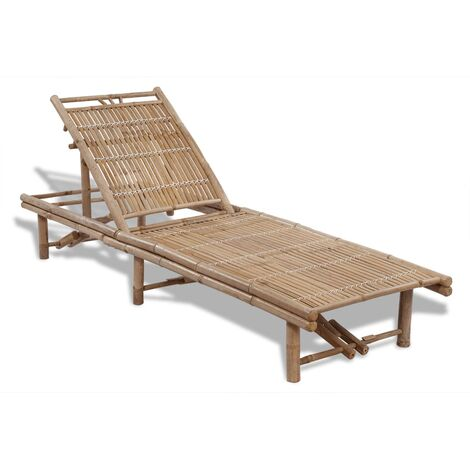 vidaXL Sun Lounger Bamboo - Brown