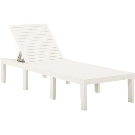 vidaXL Sun Lounger Plastic White - White