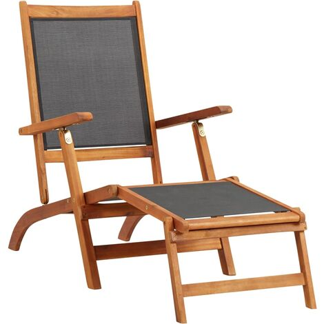 vidaXL Sun Lounger Solid Acacia Wood and Textilene - Brown