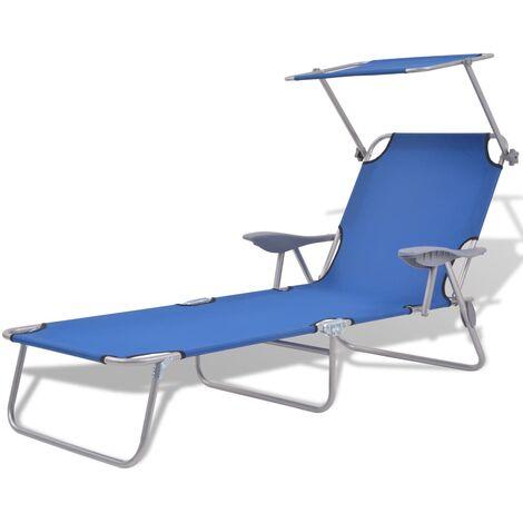 vidaXL Sun Lounger with Canopy Steel Blue - Blue