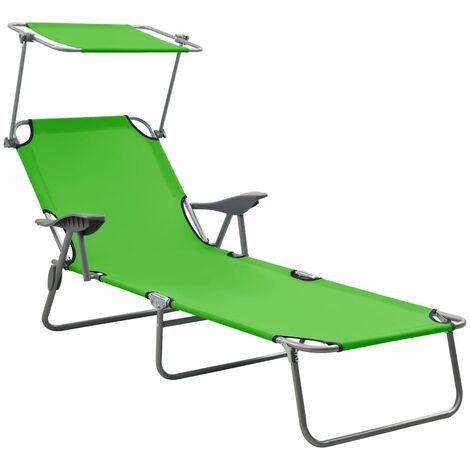 vidaXL Sun Lounger with Canopy Steel Green - Green