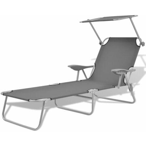 vidaXL Sun Lounger with Canopy Steel Grey - Grey
