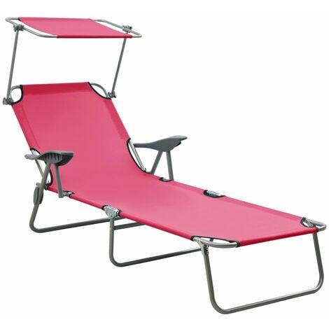 vidaXL Sun Lounger with Canopy Steel Pink - Pink