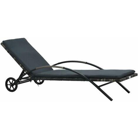 vidaXL Sun Lounger with Cushion & Wheels Poly Rattan Anthracite - Grey