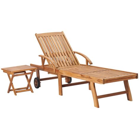 vidaXL Sun Lounger with Table Solid Teak Wood - Brown