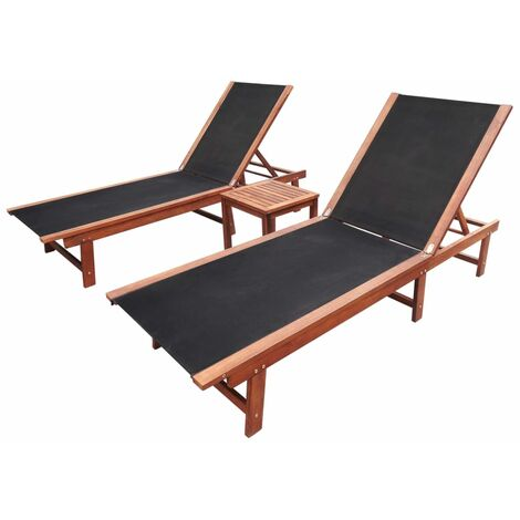 vidaXL Sun Loungers 2 pcs with Table Solid Acacia Wood and Textilene - Brown