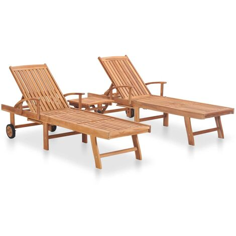"""main image of """"vidaXL Sun Loungers 2 pcs with Table Solid Teak Wood - Brown"""""""