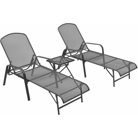 vidaXL Sun Loungers 2 pcs with Table Steel Anthracite - Anthracite