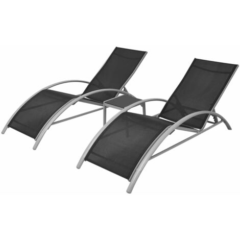 vidaXL Sun Loungers with Table Aluminium Black - Black
