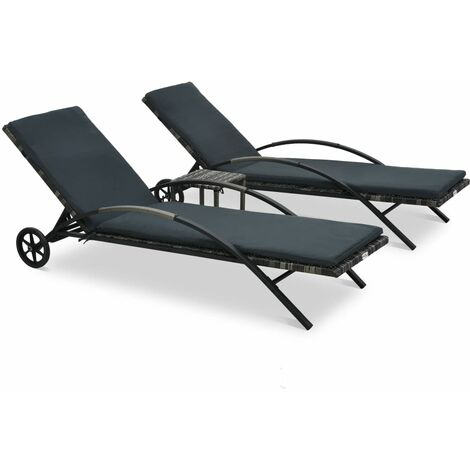 vidaXL Sun Loungers with Table Poly Rattan Anthracite - Grey