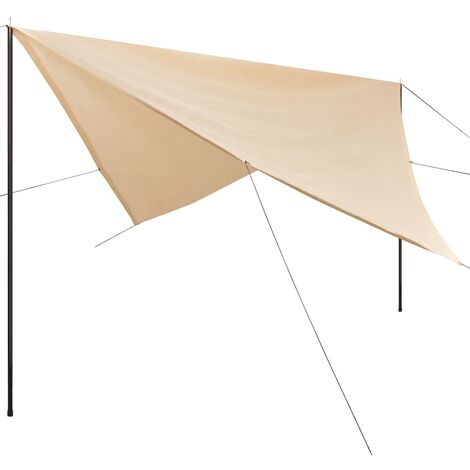 vidaXL Sunshade Tarp with Poles HDPE Square Sun Shelter Awning Canopy Patio Garden Beach UV-Proof Wind and Water Permeable Multi Sizes Multi Colours