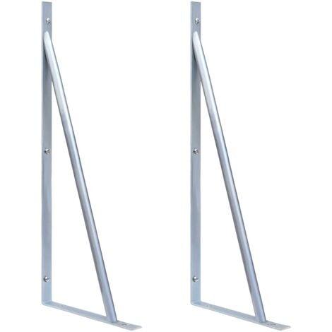 vidaXL Support Brackets for Fence Post 2 pcs Galvanised Steel