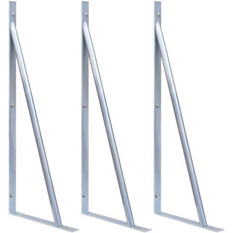 vidaXL Support Brackets for Fence Post 3 pcs Galvanised Steel