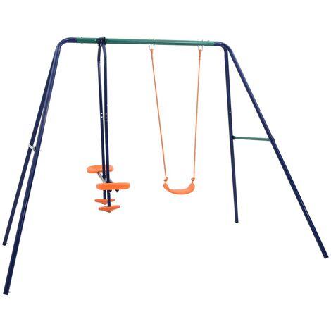 vidaXL Swing Set with 3 Seats Steel - Orange