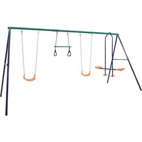 vidaXL Swing Set with Gymnastic Rings and 4 Seats Steel - Orange