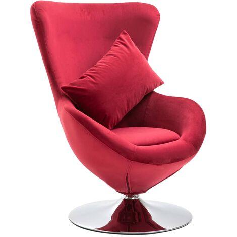 vidaXL Swivel Egg Chair with Cushion Red Velvet - Red