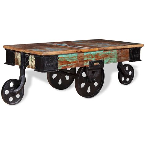 vidaXL Table Basse avec Roues Table d'Appoint Table de Salon Bout de Canapé Table de Canapé Meuble de Salle de Séjour Maison Intérieur Multi-matériau