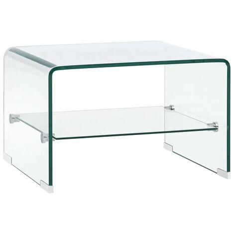 vidaXL Table Basse Clair Verre Trempé Table de Salon Table d'Appoint Bout de Canapé Table de Canapé Salle de Séjour Intérieur Maison Multi-taille