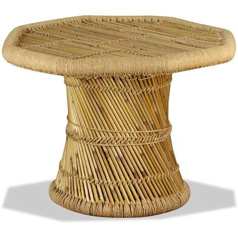 vidaXL Table Basse Octogonale Bambou Table d'Appoint Table de Salon Bout de Canapé Table de Canapé Maison Intérieur Salle de Séjour Multicolore