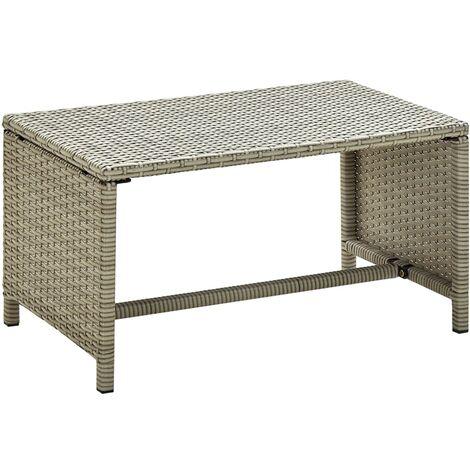 vidaXL Table Basse Résine Tressée Table d'Appoint de Jardin Table d'Extérieur Mauble de Patio Table de Terrasse Arrière-cour Multicolore
