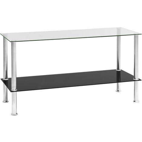 vidaXL Table Basse Verre Trempé Table d'Appoint Table de Canapé Meuble de Salon Meuble de Salle de Séjour Maison Intérieur Multicolore