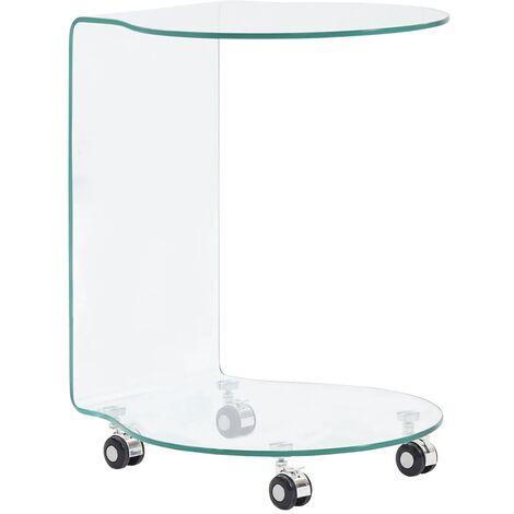 vidaXL Table Basse Verre Trempé Table d'Appoint Table de Salon Bout de Canapé Table de Canapé Maison Intérieur Salle de Séjour Multi-taille