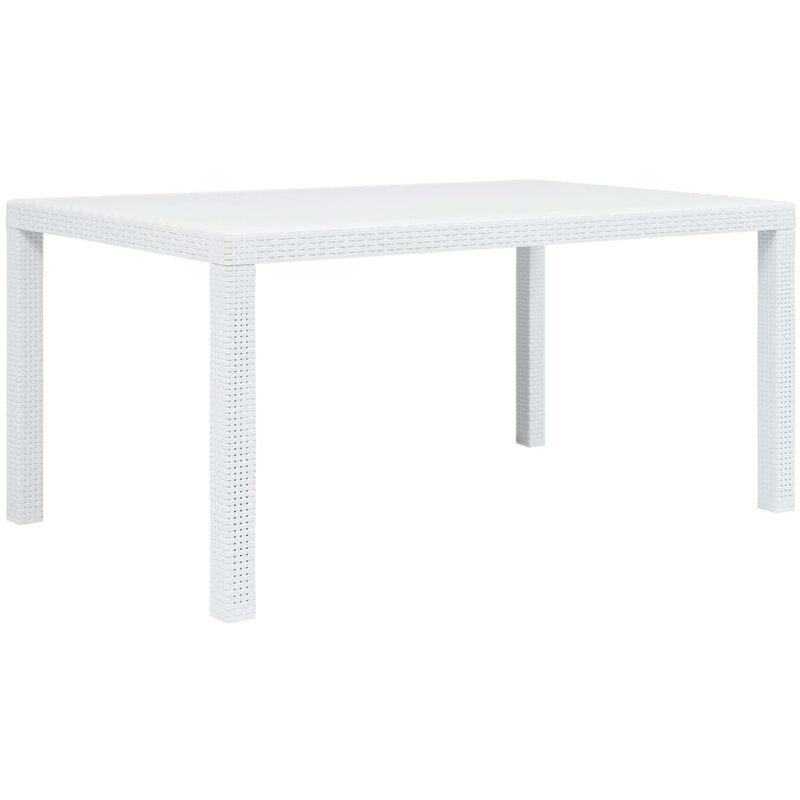 Table de jardin Blanc 150x90x72 cm Plastique Aspect de rotin