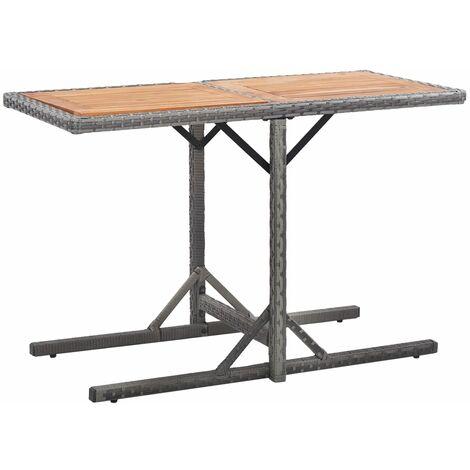 vidaXL Table de Jardin Verre et Résine Tressée Table de Terrasse Table de Patio Table de Balcon Extérieur Meubles Salle à Manger Multicolore