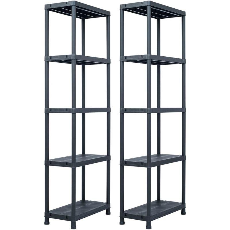 etageres de rangement 2 pcs Noir 125 kg 60x30x180 cm Plastique