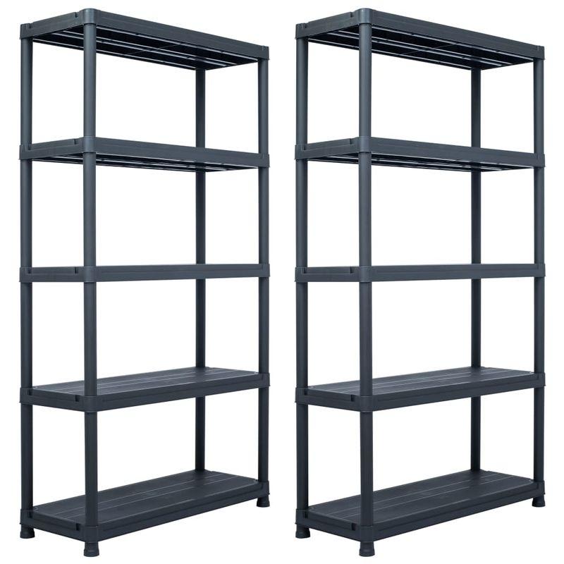 etageres de rangement 2 pcs Noir 250 kg 80x40x180 cm Plastique