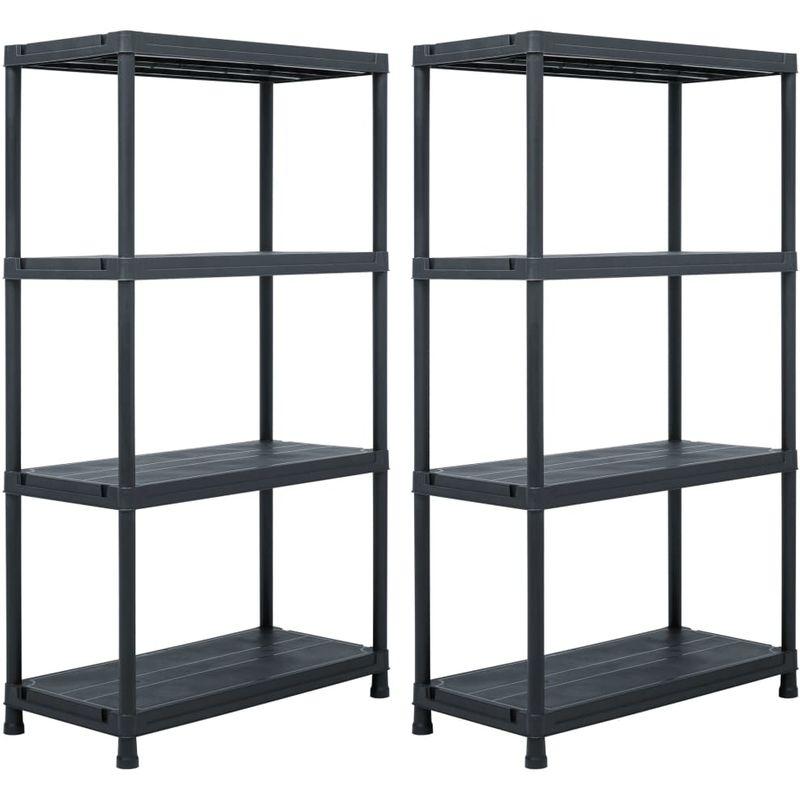 etageres de rangement 2 pcs Noir 60x30x138 cm Plastique