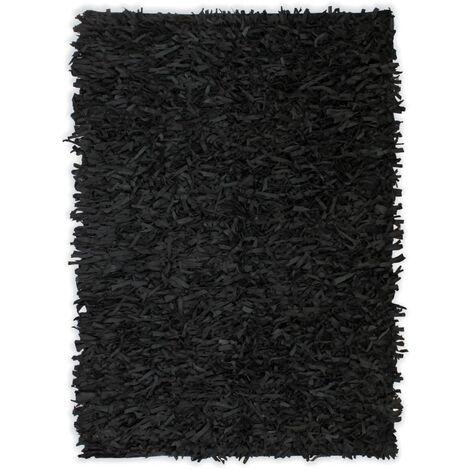 vidaXL Tapis Shaggy Cuir Véritable Carpette de Salon Tapis de Plancher Moquette de Salle de Séjour Maison Intérieur Multi-taille Multicolore
