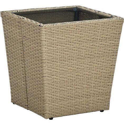 vidaXL Tea Table Beige 41.5x41.5x44 cm Poly Rattan and Tempered Glass - Beige