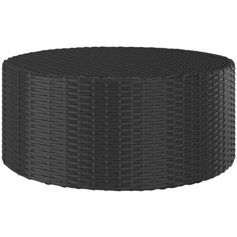 vidaXL Tea Table Black 68x68x30 cm Poly Rattan - Black