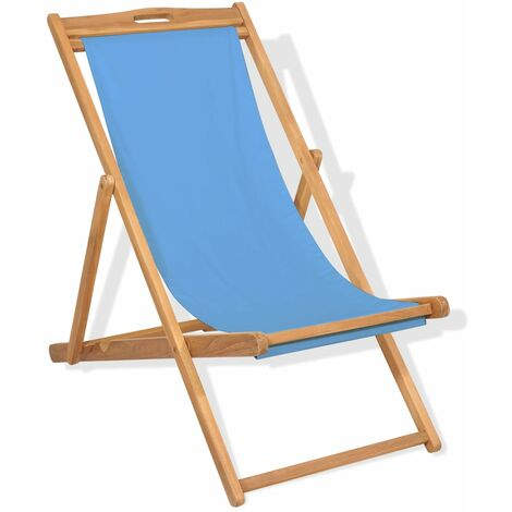 vidaXL Teak Deck Chair 56x105x96cm Outdoor Beach Foldable Seat Cream/Blue