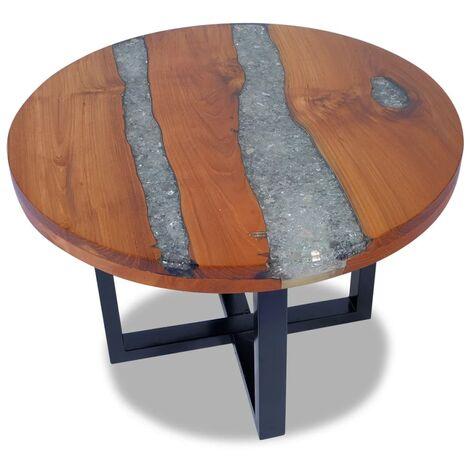 vidaXL Teck Table Basse Résine Table d'Appoint Table de Canapé Meuble de Salon Maison Intérieur Salle de Séjour Multicolore Multi-taille