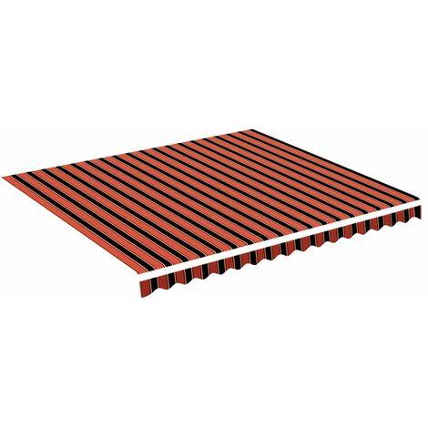 vidaXL Tela de repuesto para toldo naranja y marrón 4x3,5 m - Multicolor
