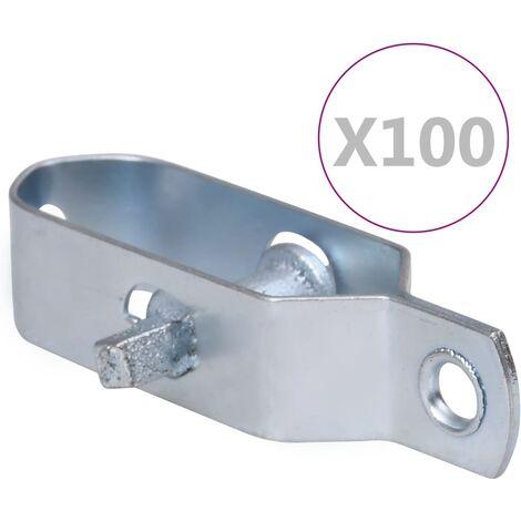 vidaXL Tensores de alambre para valla 100 uds acero plateado 100 mm - Plateado