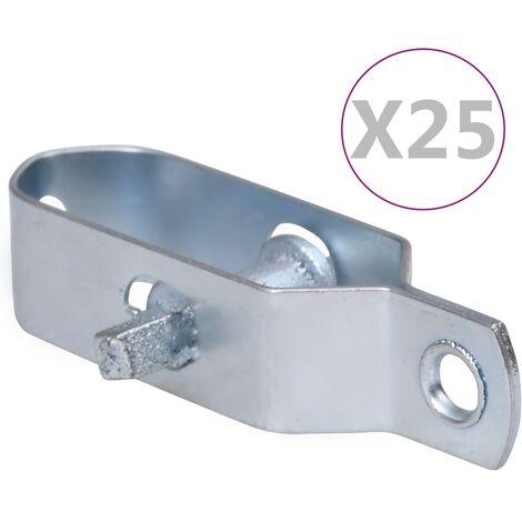 vidaXL Tensores de alambre para valla 25 uds acero plateado 90 mm - Plateado