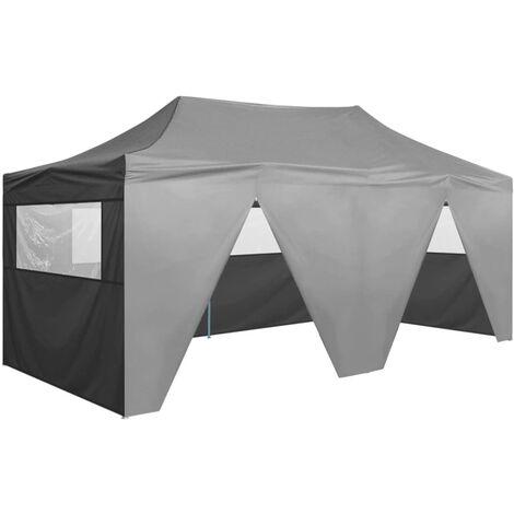 vidaXL Tente de Réception Pliable avec 4 Parois Acier Tonnelle de Jardin Tonnelle de Patio Pavillon de Terrasse Auvent d'Extérieur Multicolore