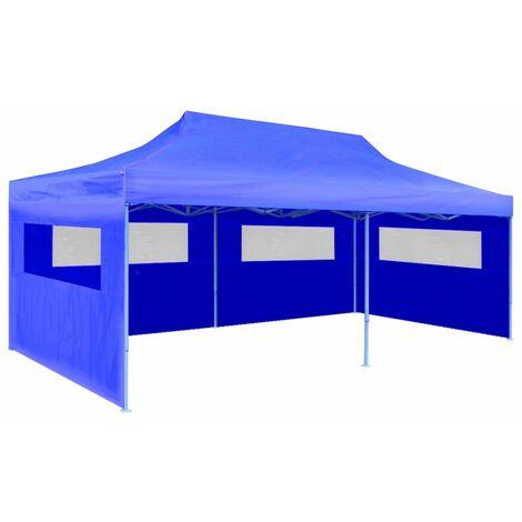 vidaXL Tente de Réception Pliable Terrasse Tonellle de Jardin Pavillon Belvédère Moderne de Jardin Tonnelle de Réception 3x6 m Crème/Bleu