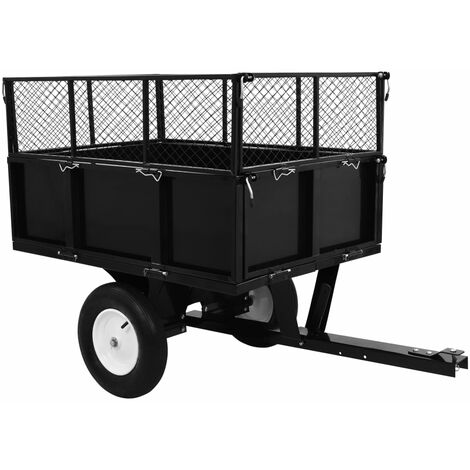 """main image of """"vidaXL Tipping Trailer for Lawn Tractor 300 kg Load - Black"""""""