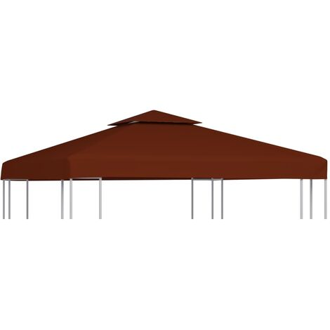 vidaXL Toile Supérieure Double de Belvédère Toit de Chapiteau Gazebo Jardin Terrasse Extérieur Protection Dimensions Diverses Marron/Terre Cuite