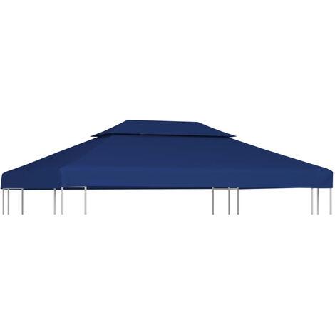 vidaXL Toldo de cenador 2 niveles 310 g/m2 4x3 m azul