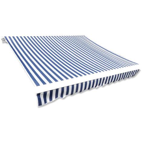 vidaXL Toldo de lona azul y blanco 436x296 cm