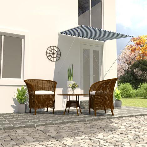 VidaXL Toldo retractil 200x150 cm azul y blanco