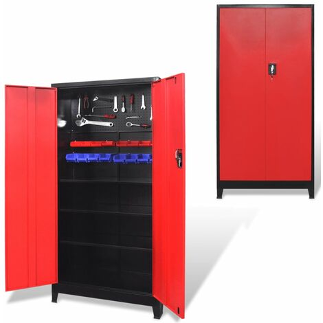 vidaXL Tool Cabinet with 2 Doors Steel 90x40x180 cm Black and Red - Multicolour
