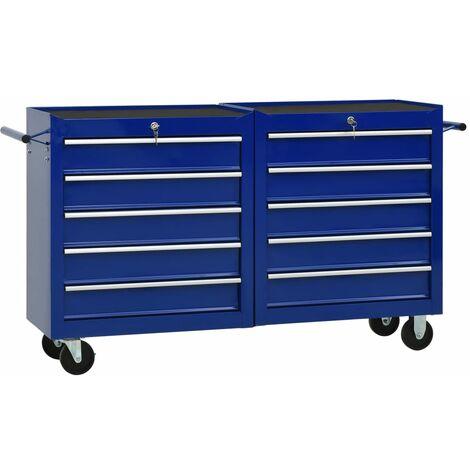 vidaXL Tool Trolley with 10 Drawers Steel Blue (147179+147180) - Blue