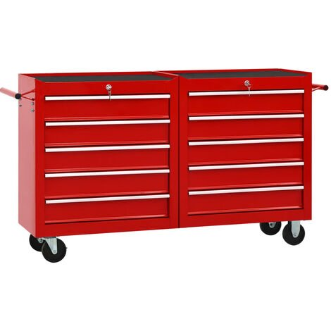 vidaXL Tool Trolley with 10 Drawers Steel Red (147175+147176) - Red
