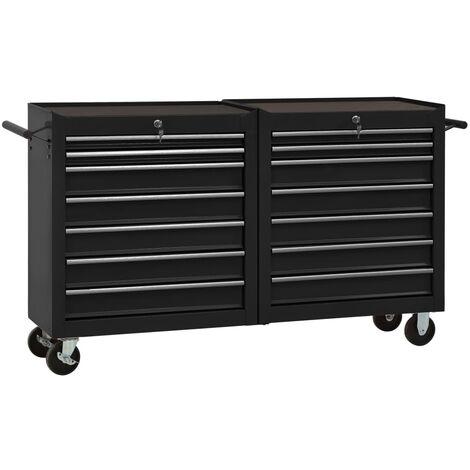 vidaXL Tool Trolley with 14 Drawers Steel Black (147185+147186) - Black